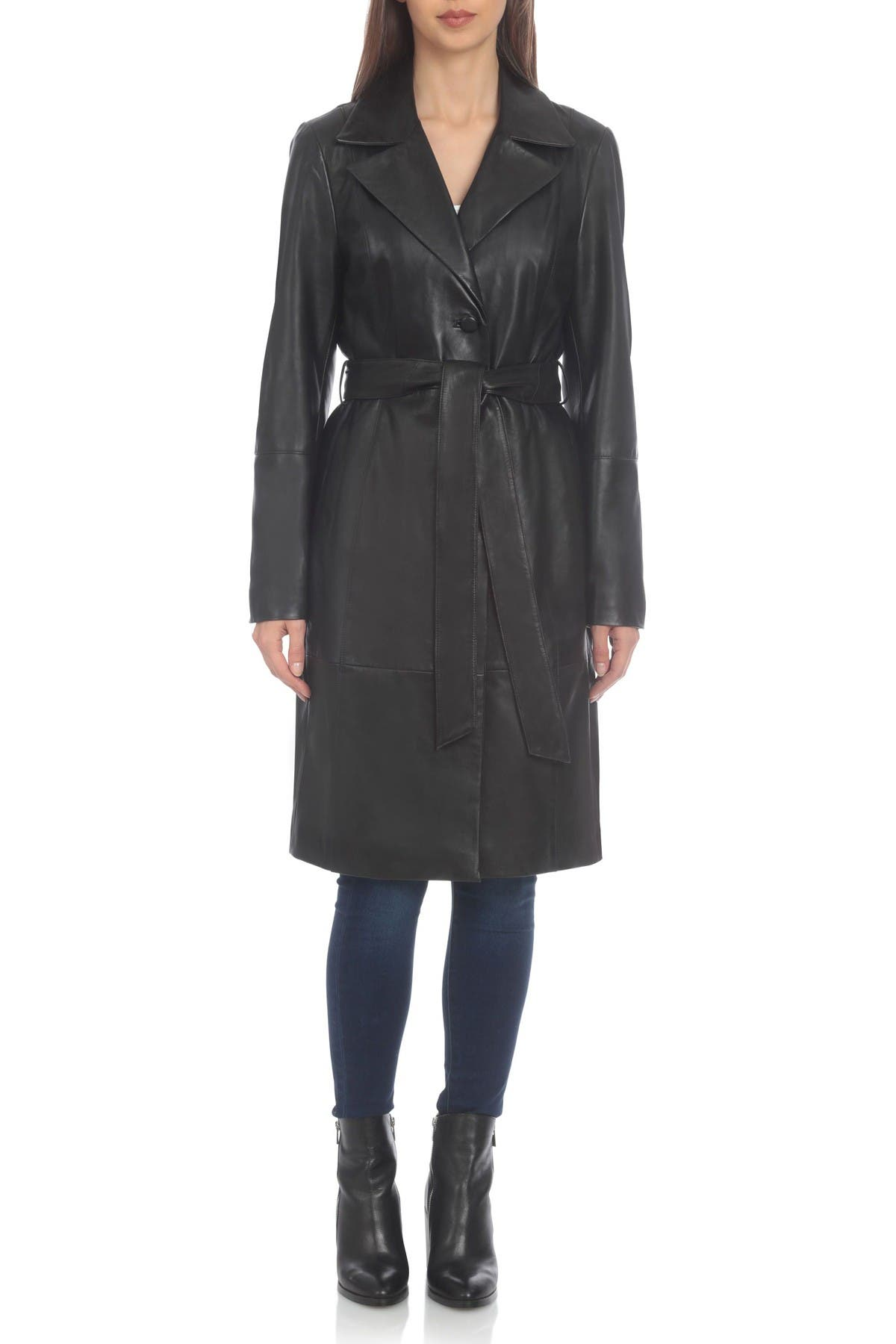 Badgley Mischka Single-Breasted Lamb Leather Trench