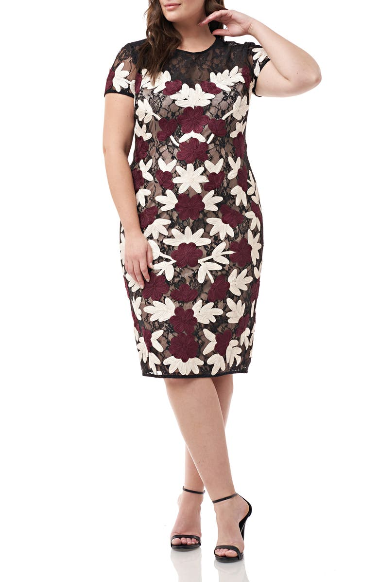 JS COLLECTIONS Floral Two-Tone Embroidered Dress, Main, color, CABERNET MULTI