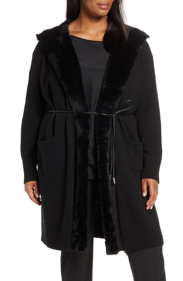 LAFAYETTE 148 NEW YORK Wool & Cashmere Cardigan with Genuine Shearling Trim, Main, color, BLACK