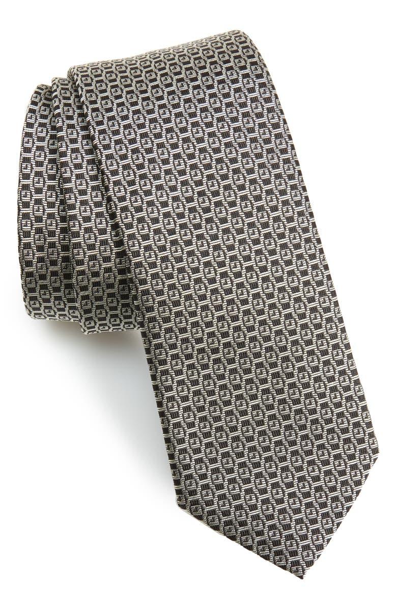 SALVATORE FERRAGAMO Ischi Geometric Silk Tie, Main, color, F. NERO