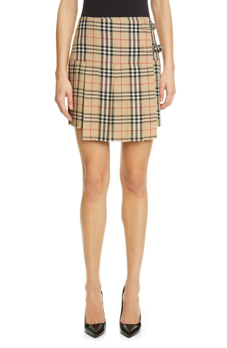 BURBERRY Zoe Vintage Check Asymmetrical Wool Kilt, Main, color, ARCHIVE BEIGE IP CHK