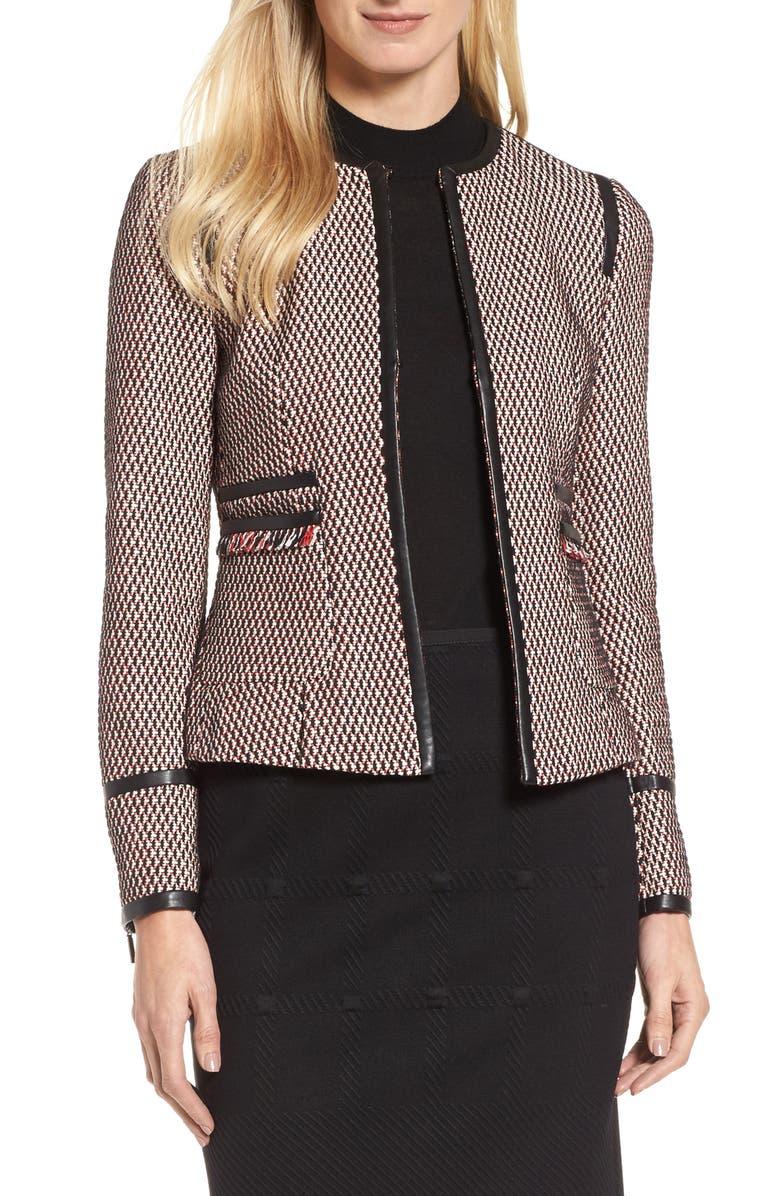 BOSS Keili Collarless Tweed Jacket, Main, color, 903