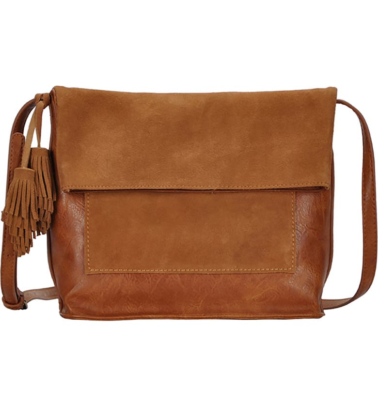 ANTIK KRAFT Suede Crossbody Bag, Main, color, TAN