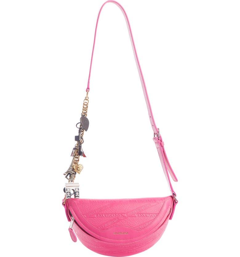 BALENCIAGA Extra Extra Small Souvenir Leather Belt Bag, Main, color, ACID FUCHSIA