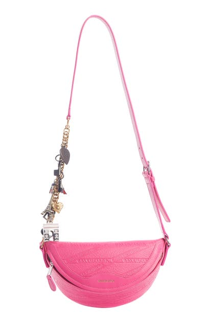 Balenciaga Extra Extra Small Souvenir Leather Belt Bag In Acid Fuchsia
