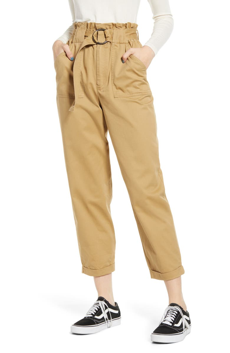TEN SIXTY SHERMAN Tapered Paperbag Pants, Main, color, CAMEL