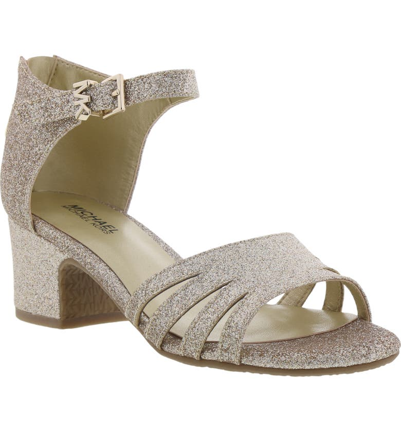 MICHAEL MICHAEL KORS Gemini Joi Glitter Sandal, Main, color, SOFT GOLD