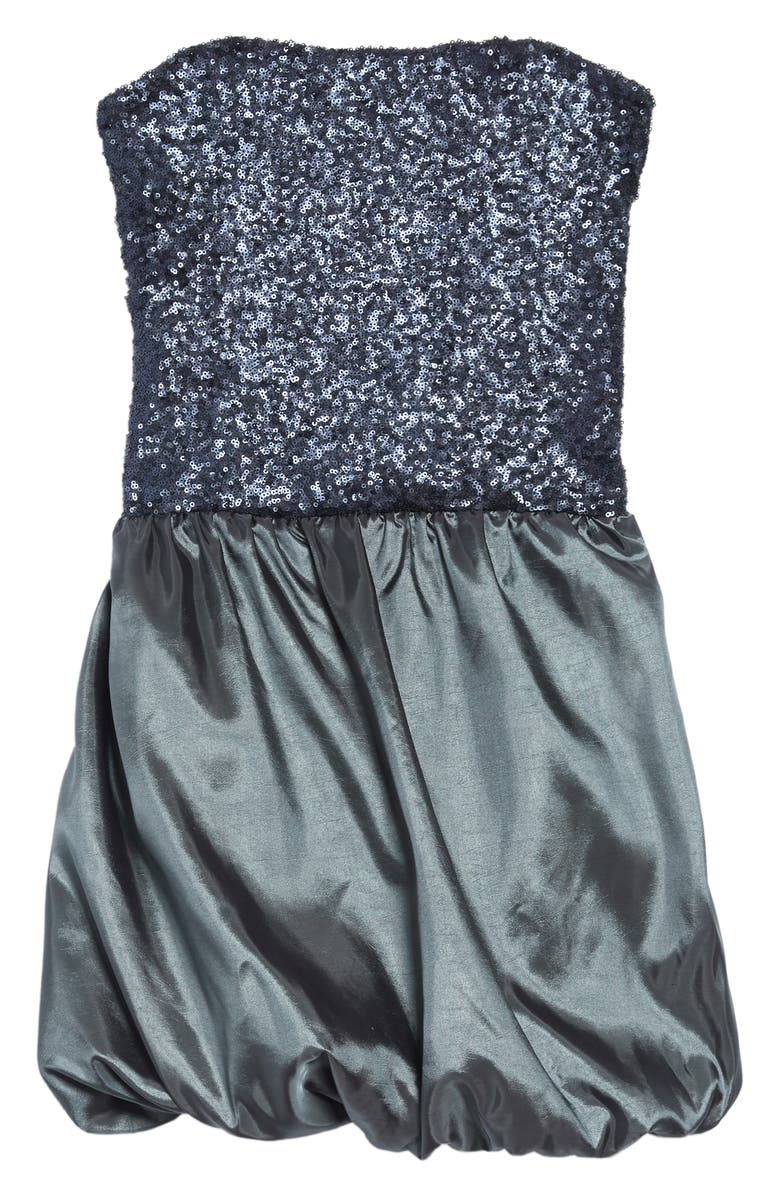 STELLA M'LIA Sequin Satin Bubble Dress, Main, color, GREY