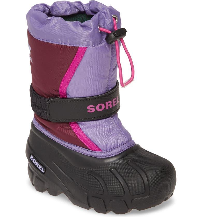 SOREL Flurry Weather Resistant Snow Boot, Main, color, PURPLE DAHLIA