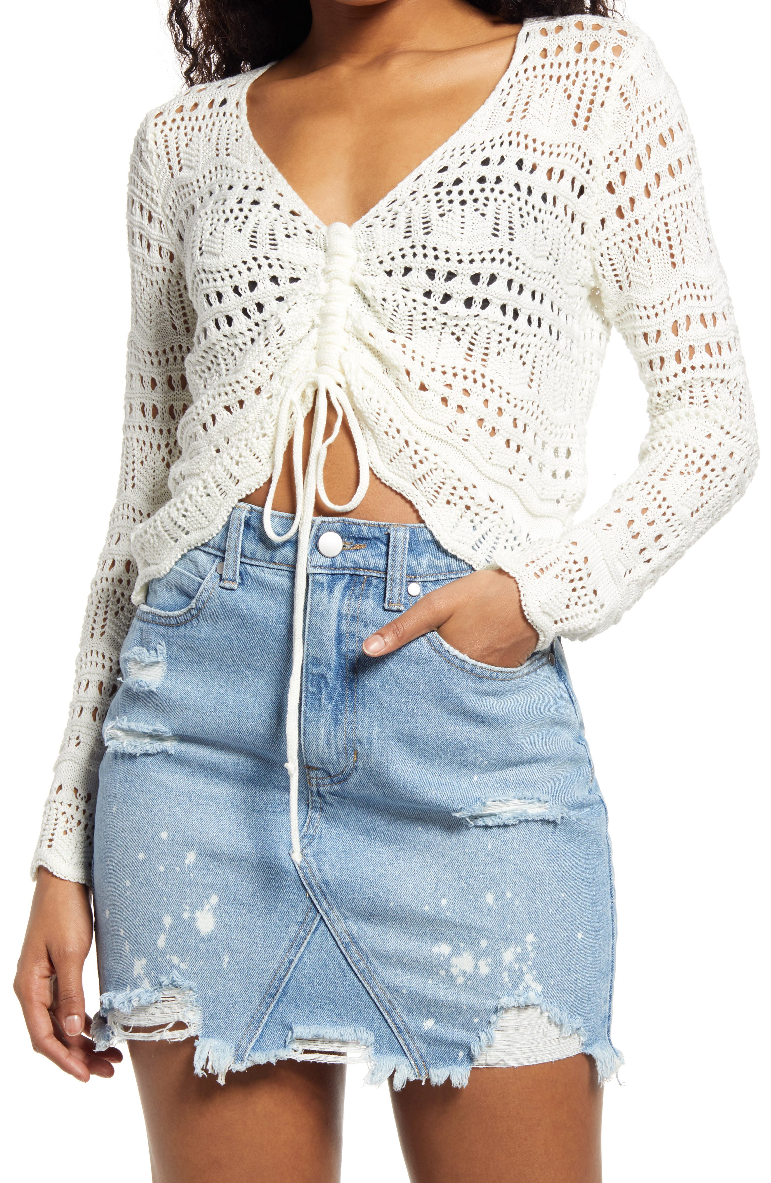Only Yours Pointelle V-Neck Sweater