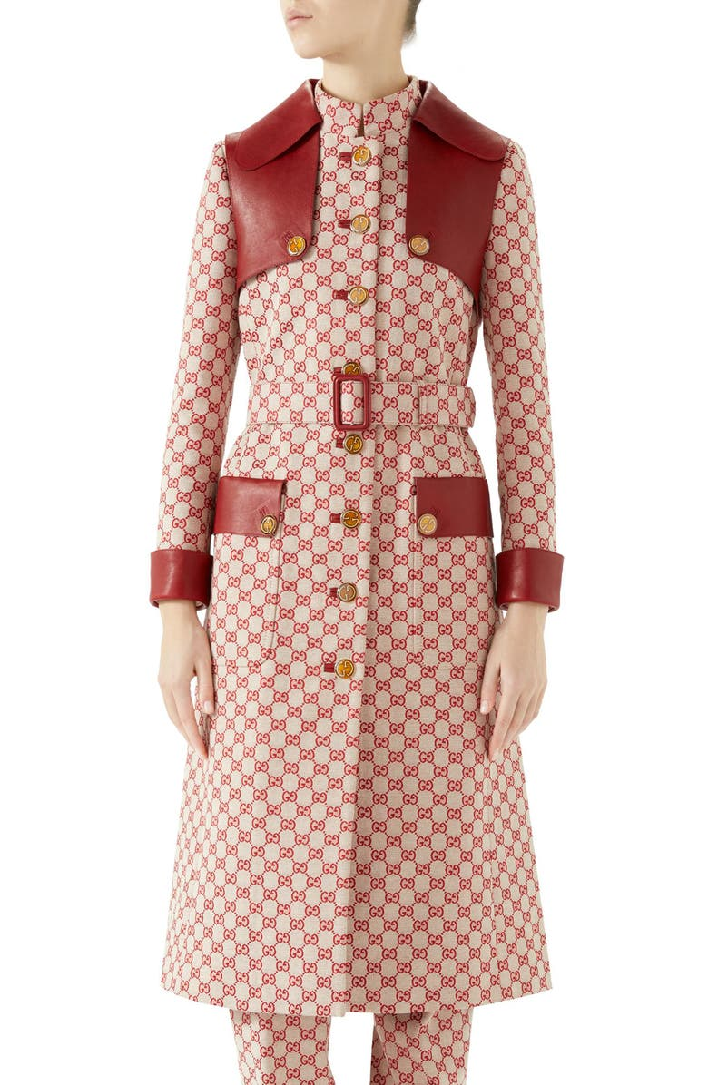 GUCCI Leather Trim GG Canvas Trench Coat, Main, color, GARDENIA/ RED