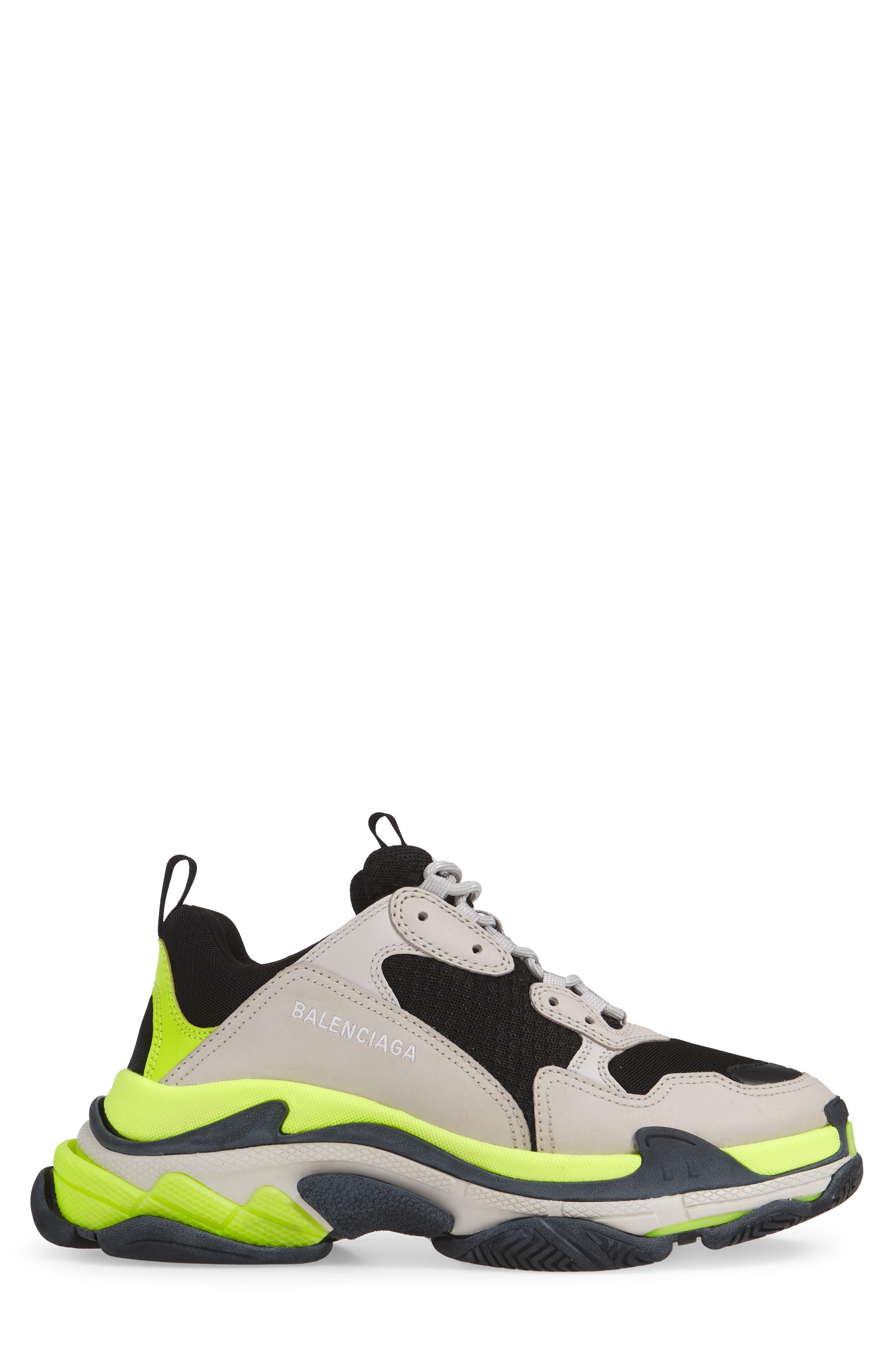 ,                             Triple S Retro Sneaker,                             Alternate thumbnail 3, color,                             GREY/ YELLOW FLUO