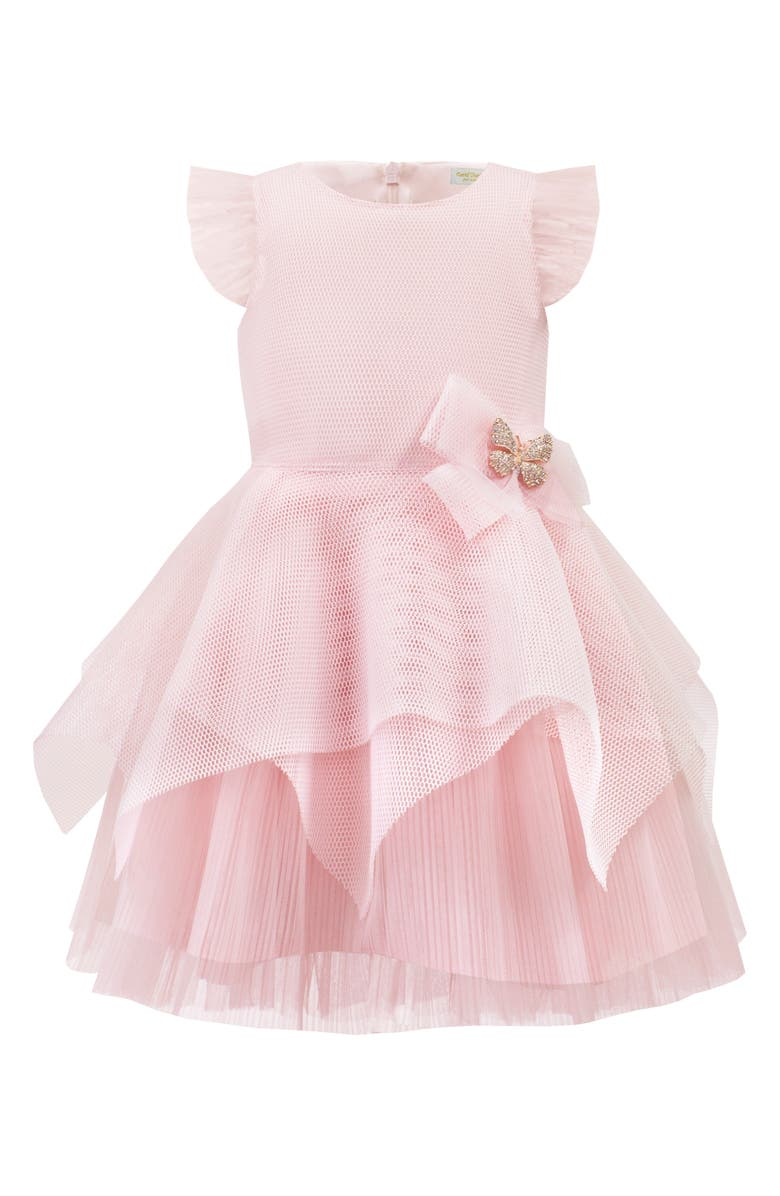 DAVID CHARLES Tiered Mesh Party Dress, Main, color, PINK