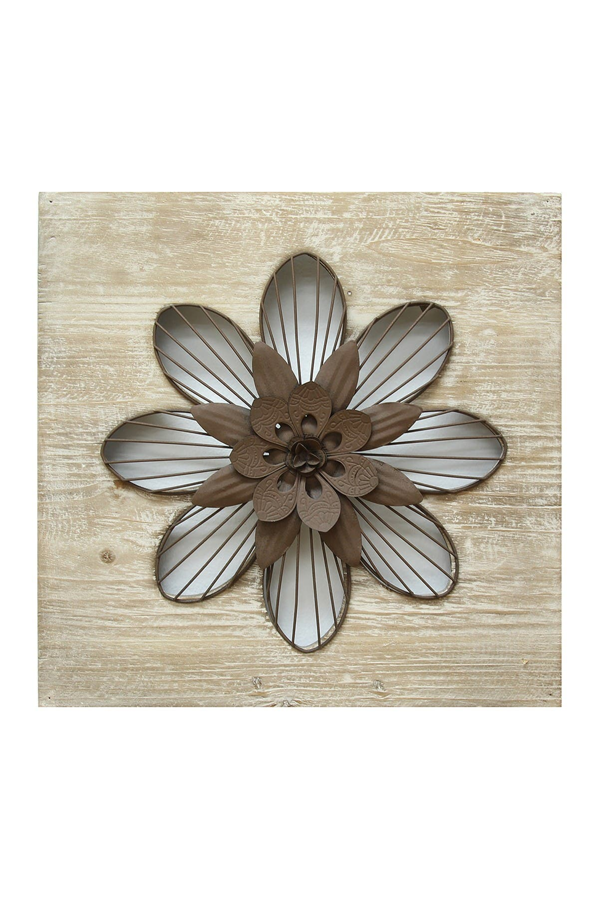 Stratton Home Natural Wood/Espresso Rustic Flower Wall Decor at Nordstrom Rack