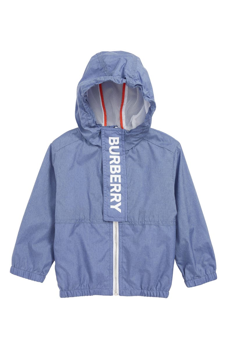 BURBERRY Austin Hooded Windbreaker Jacket, Main, color, SAPPHIRE BLUE
