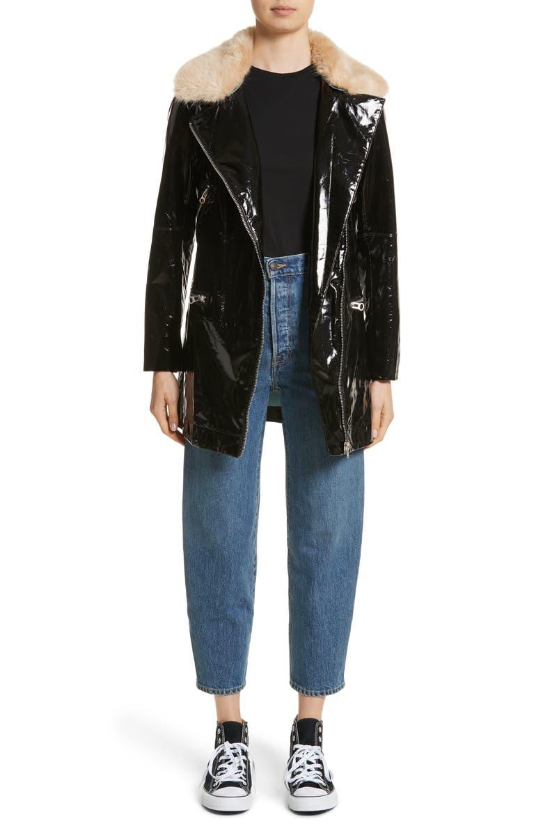 SHRIMPS Olwen Faux Leather Long Biker Coat with Faux Fur Collar, Main, color, 001