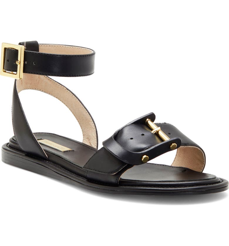 LOUISE ET CIE Benue Ankle Strap Sandal, Main, color, BLACK LEATHER