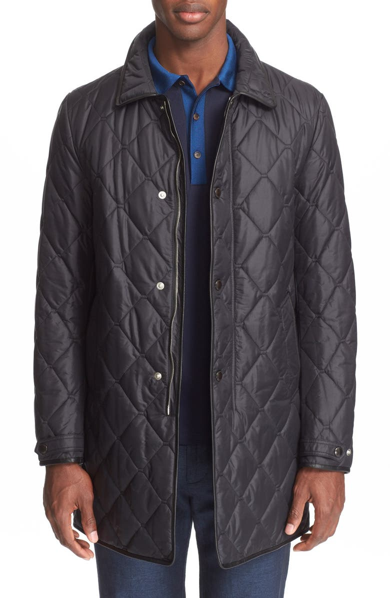 BURBERRY London 'Kenworth' Quilted Coat, Main, color, 001
