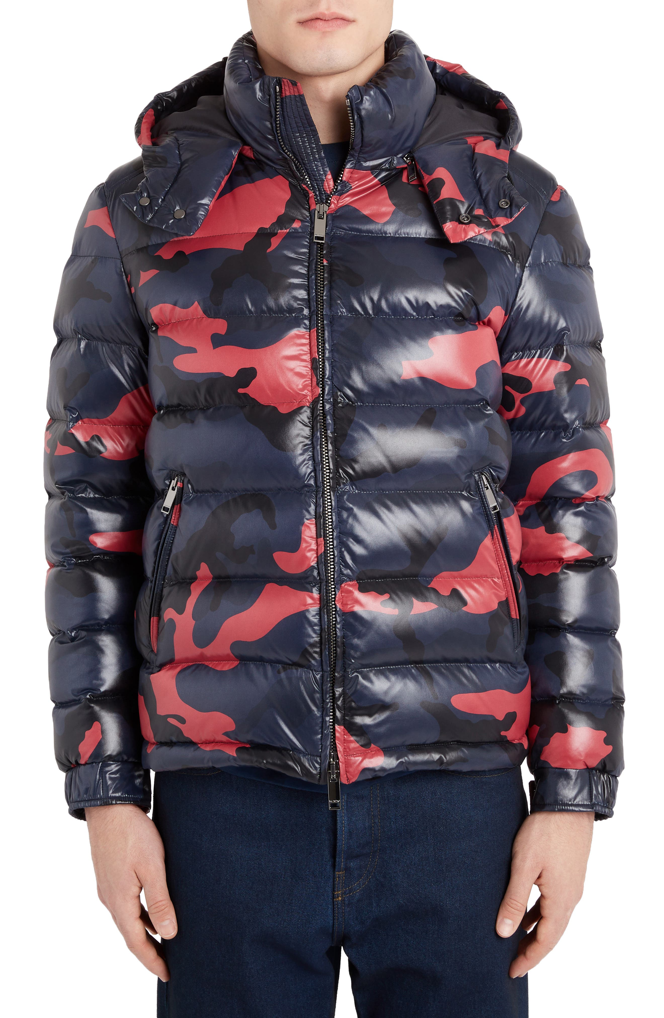Valentino Camo Down Puffer Jacket, Blue