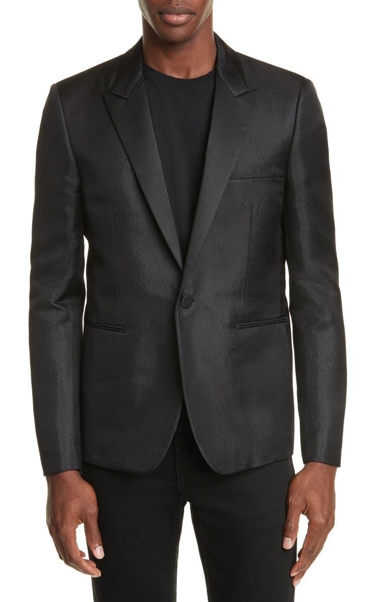 SAINT LAURENT Veste Courte Silk Blend Dinner Jacket, Main, color, 001