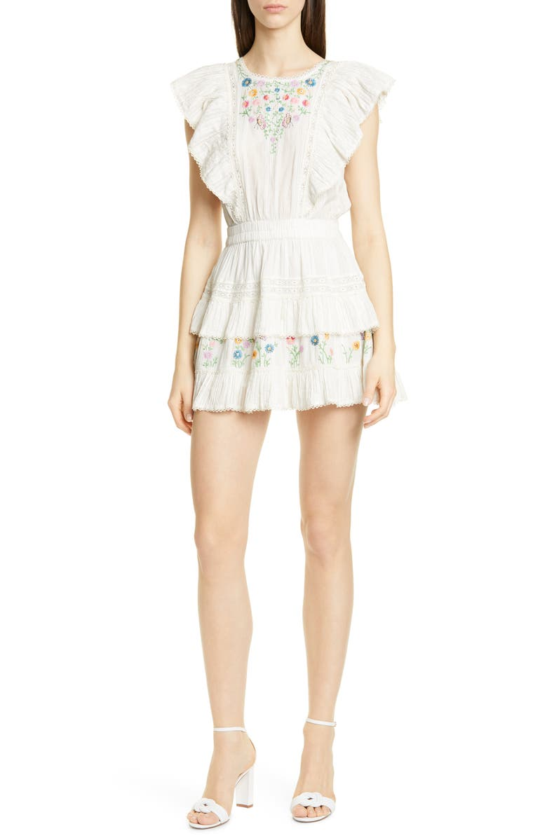 LOVESHACKFANCY Romy Ruffle Tiered Minidress, Main, color, PORTER CREAM