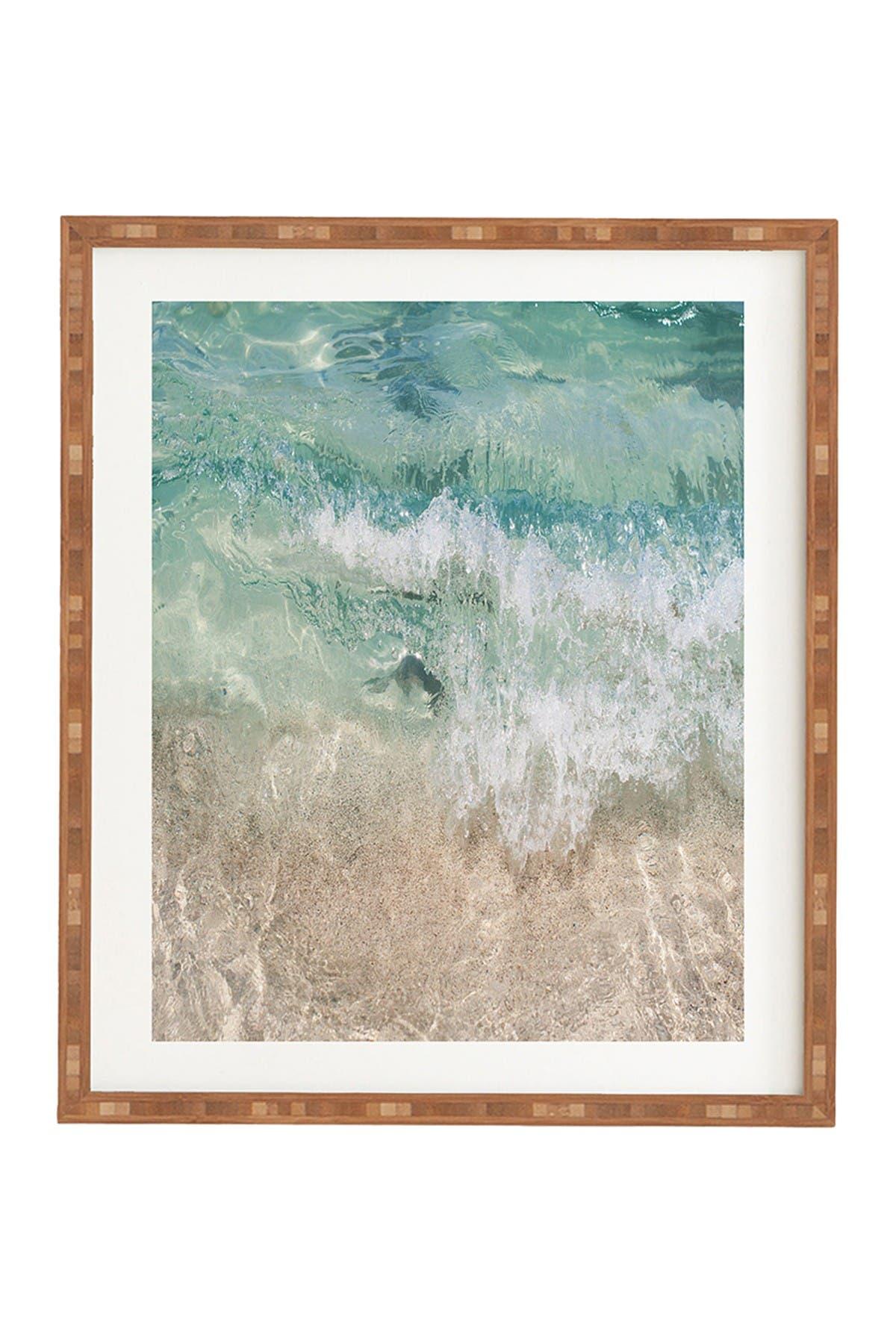 Image of Deny Designs Bree Madden Aqua Wave Bamboo Framed Art