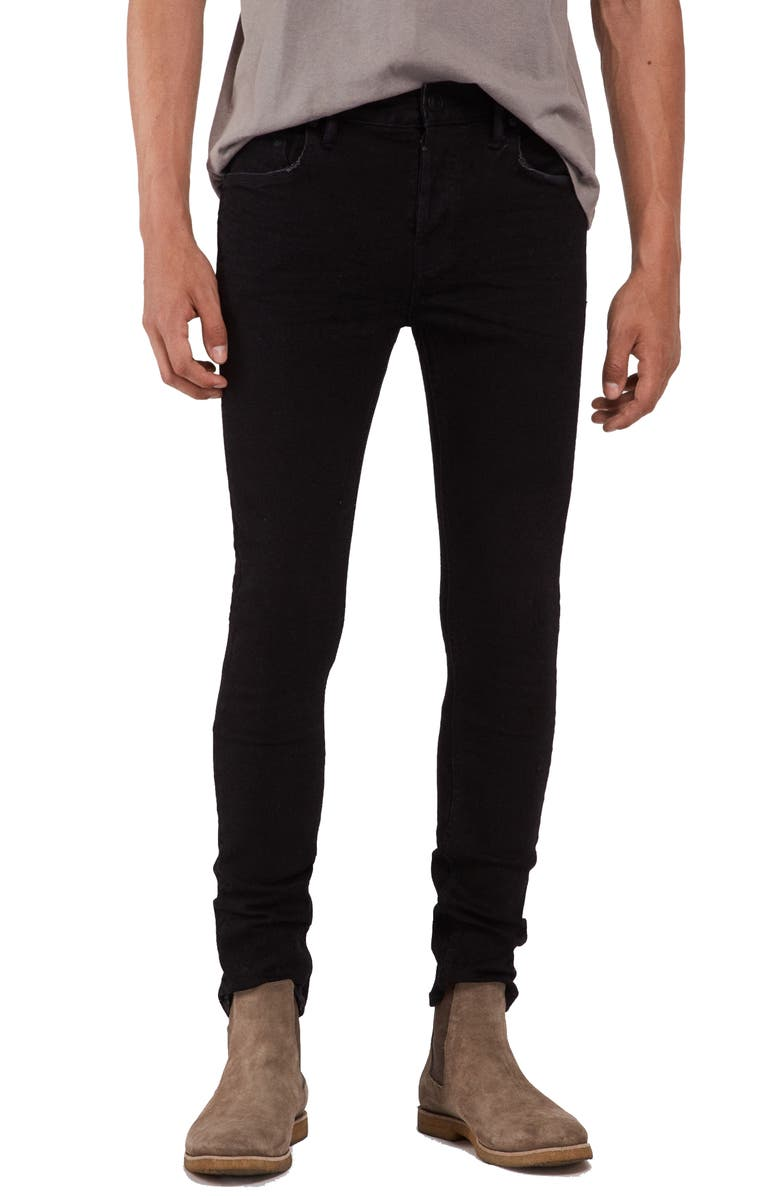 ALLSAINTS Cigarette Skinny Fit Jeans, Main, color, JET BLACK