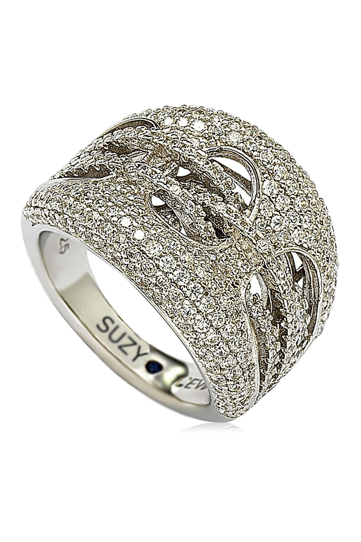 Image of Suzy Levian Sterling Silver CZ Gladiator Weaving Ring