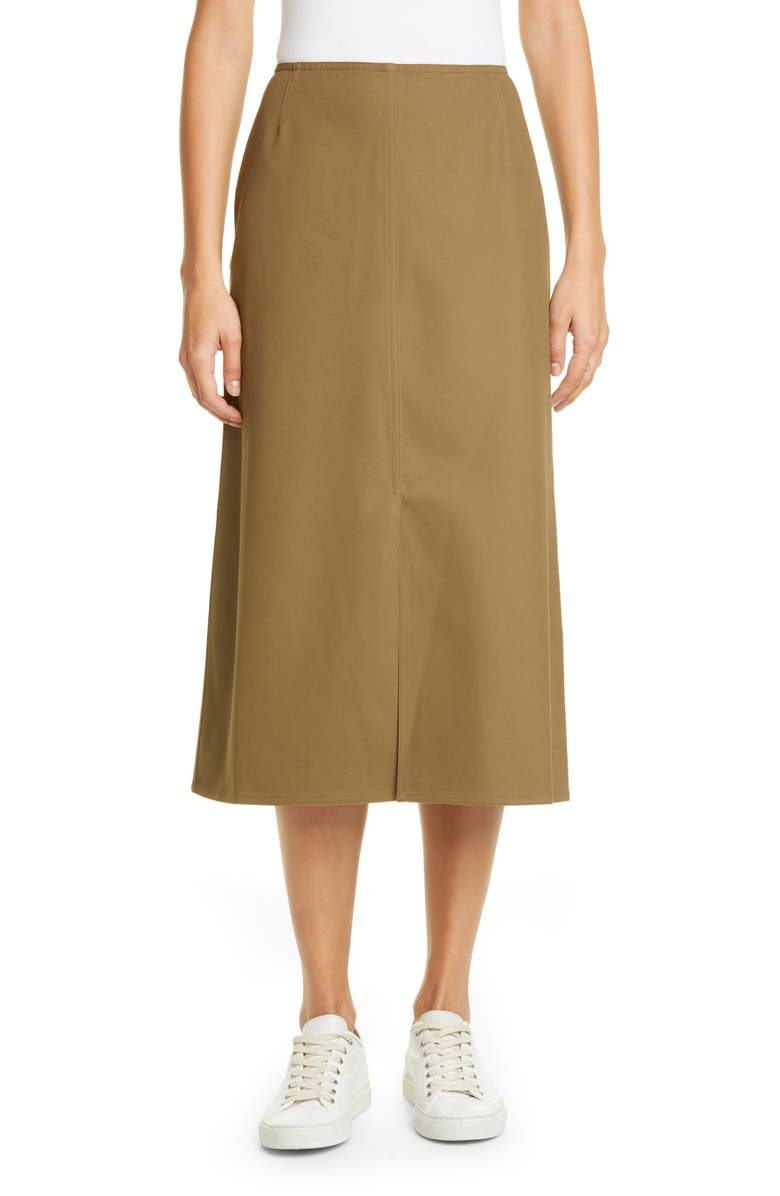 SOFIE D'HOORE Cotton Twill Midi Skirt, Main, color, KHAKI