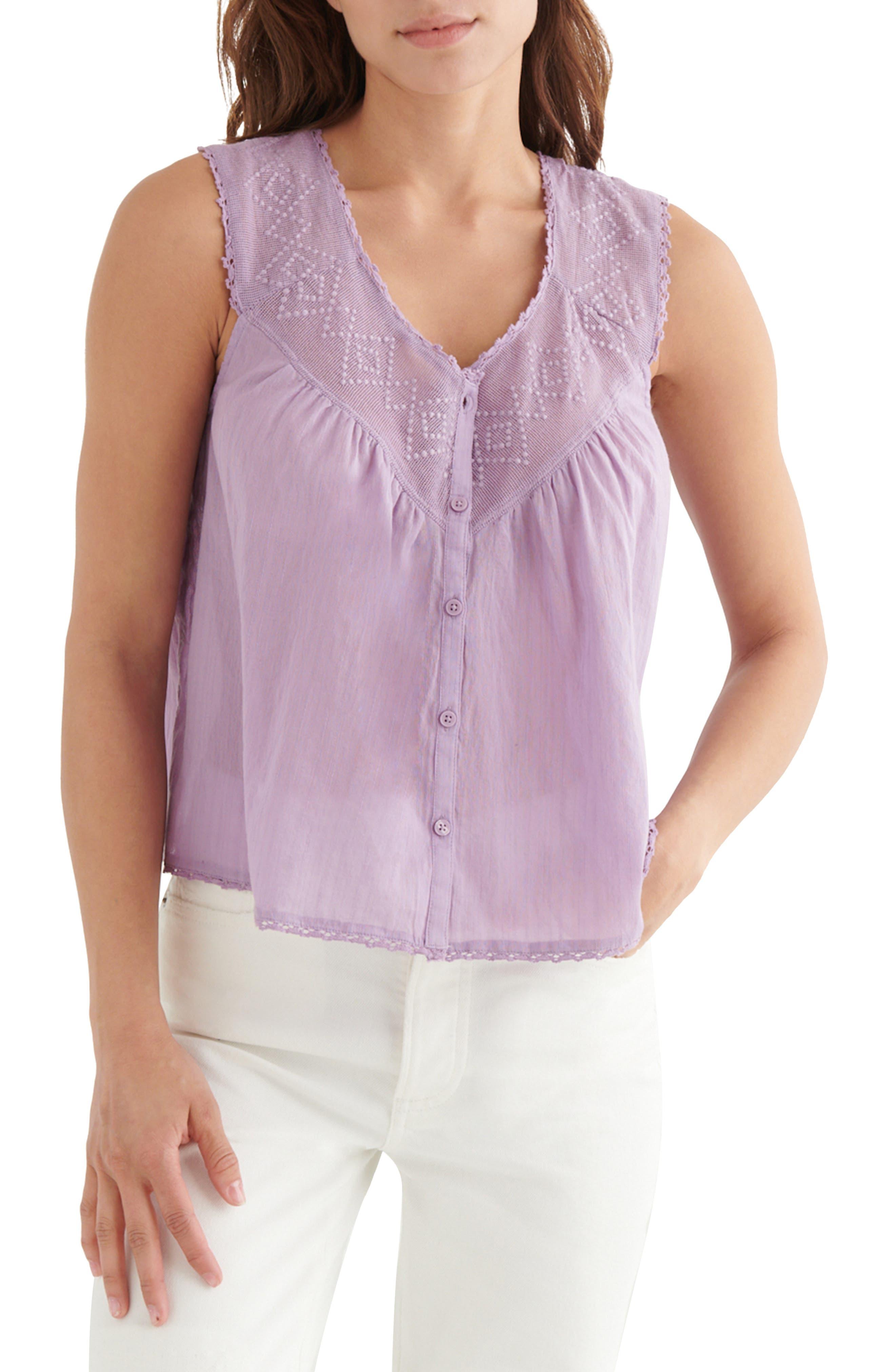 Embroidered Yoke Sleeveless Cotton Top
