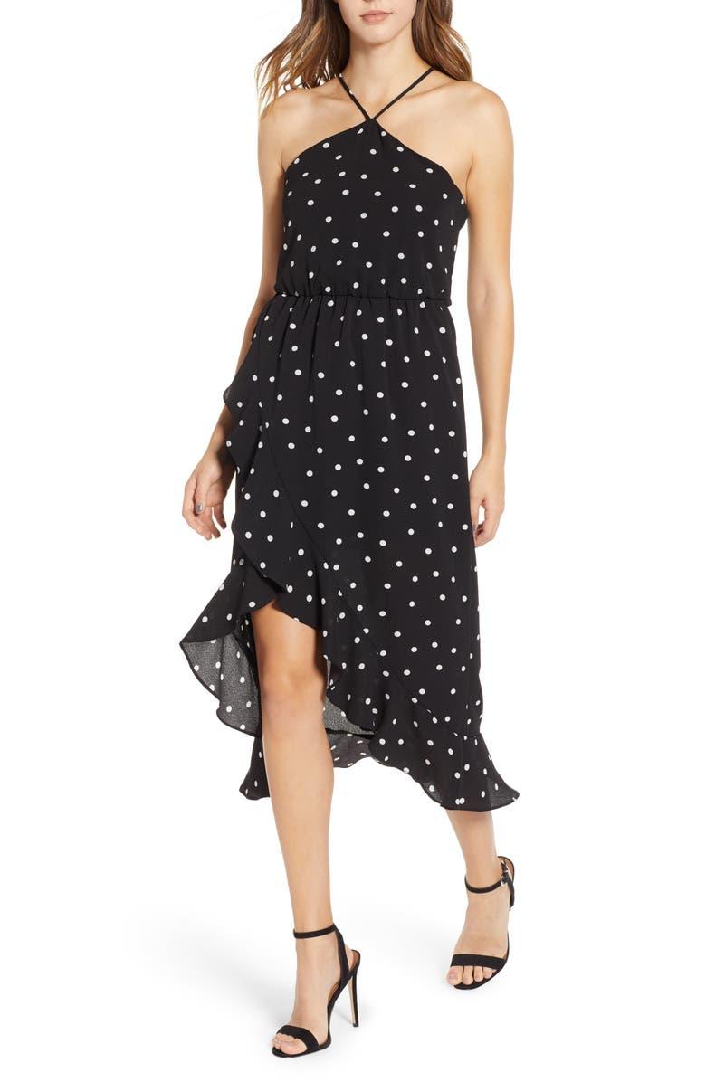 --- Polka Dot Ruffle Trim Halter Dress, Main, color, 001