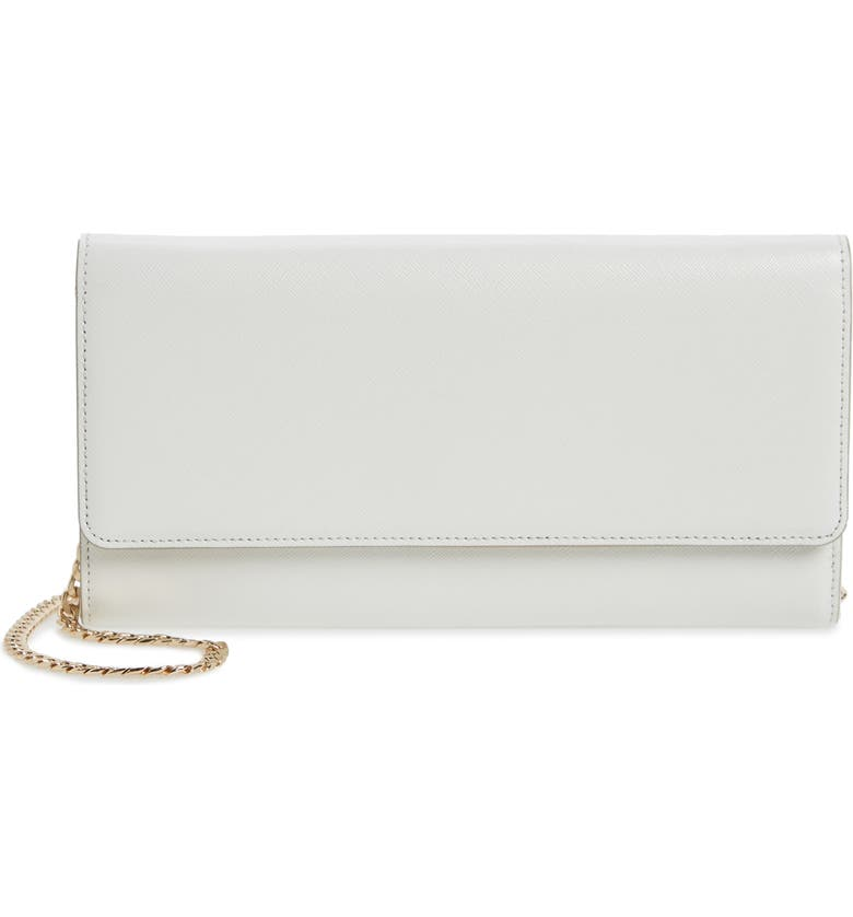 NORDSTROM Selena Leather Clutch, Main, color, WHITE SNOW