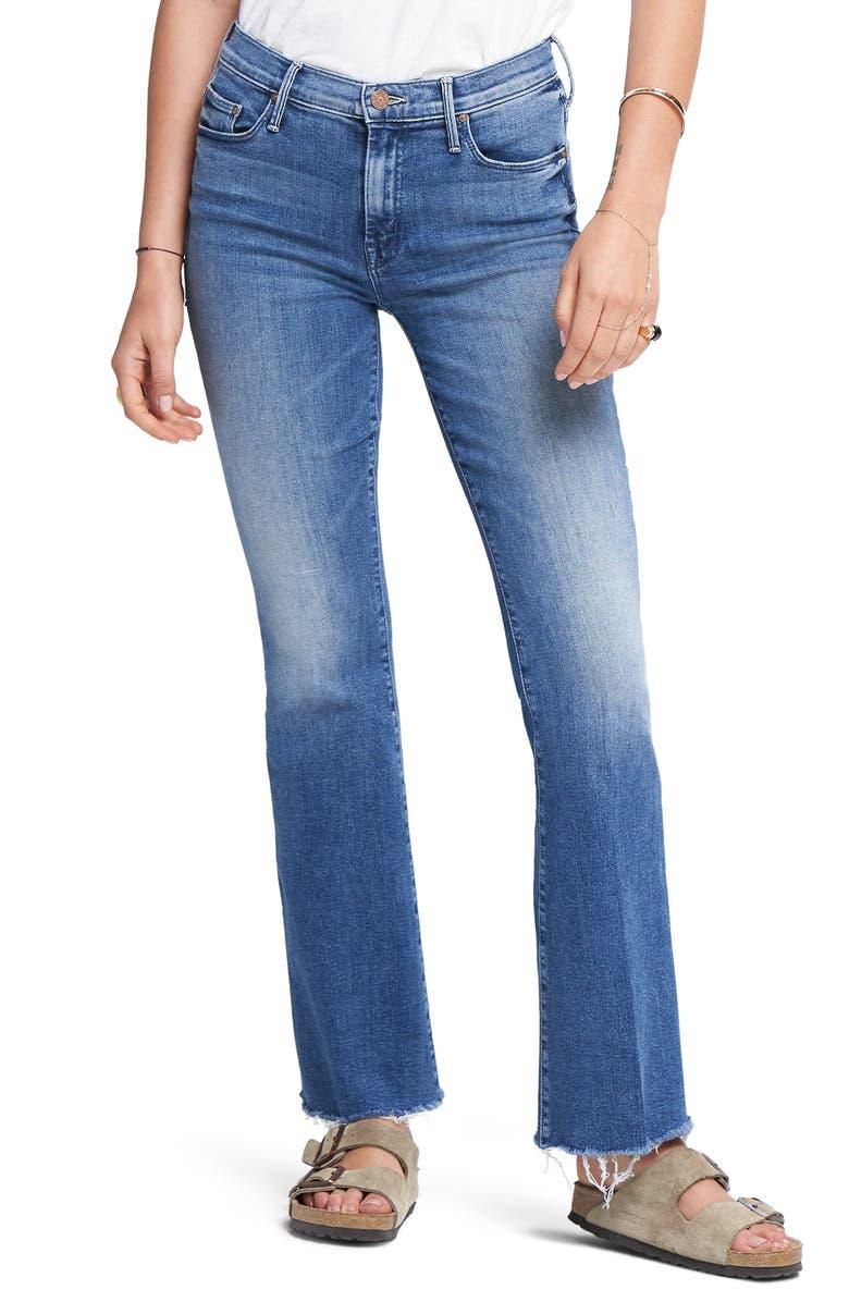 MOTHER Fray Hem Bootcut Jeans, Main, color, GROOVIN
