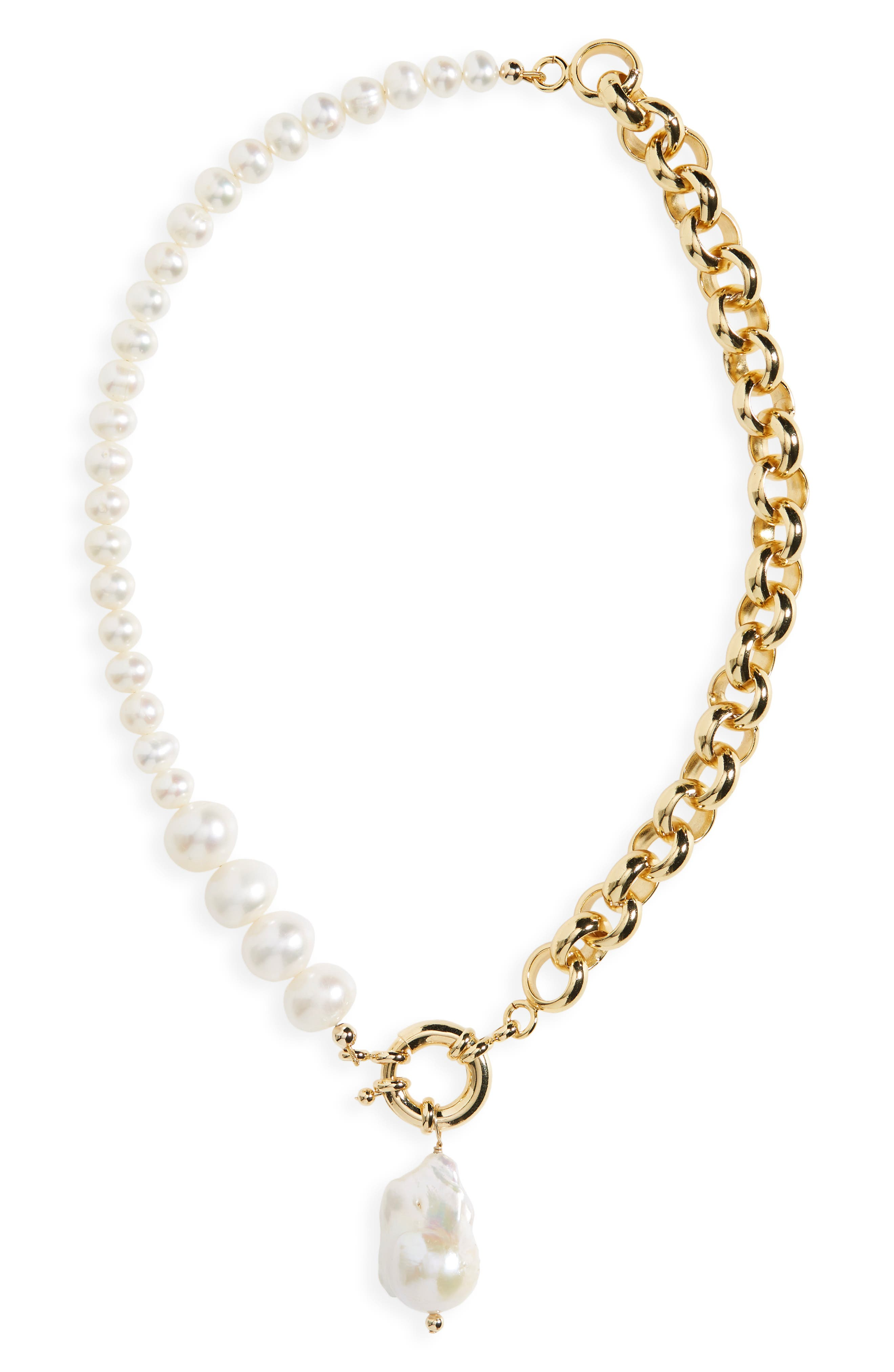 Women's Eliou Caxias Freshwater Pearl & Chain Necklace (Nordstrom Exclusive)