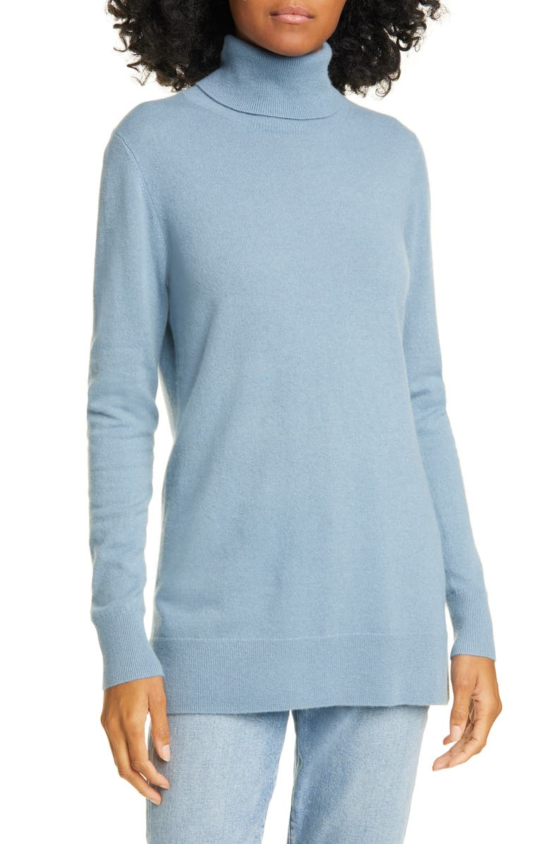 NORDSTROM SIGNATURE Turtleneck Cashmere Sweater, Main, color, BLUE CHAMBRAY