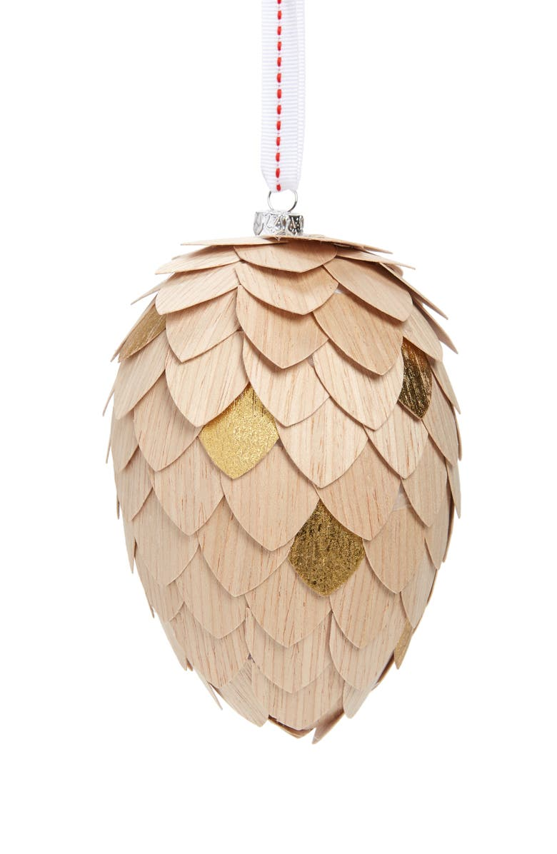 NORDSTROM Large Wooden Pine Cone Ornament, Main, color, NATURAL WOOD