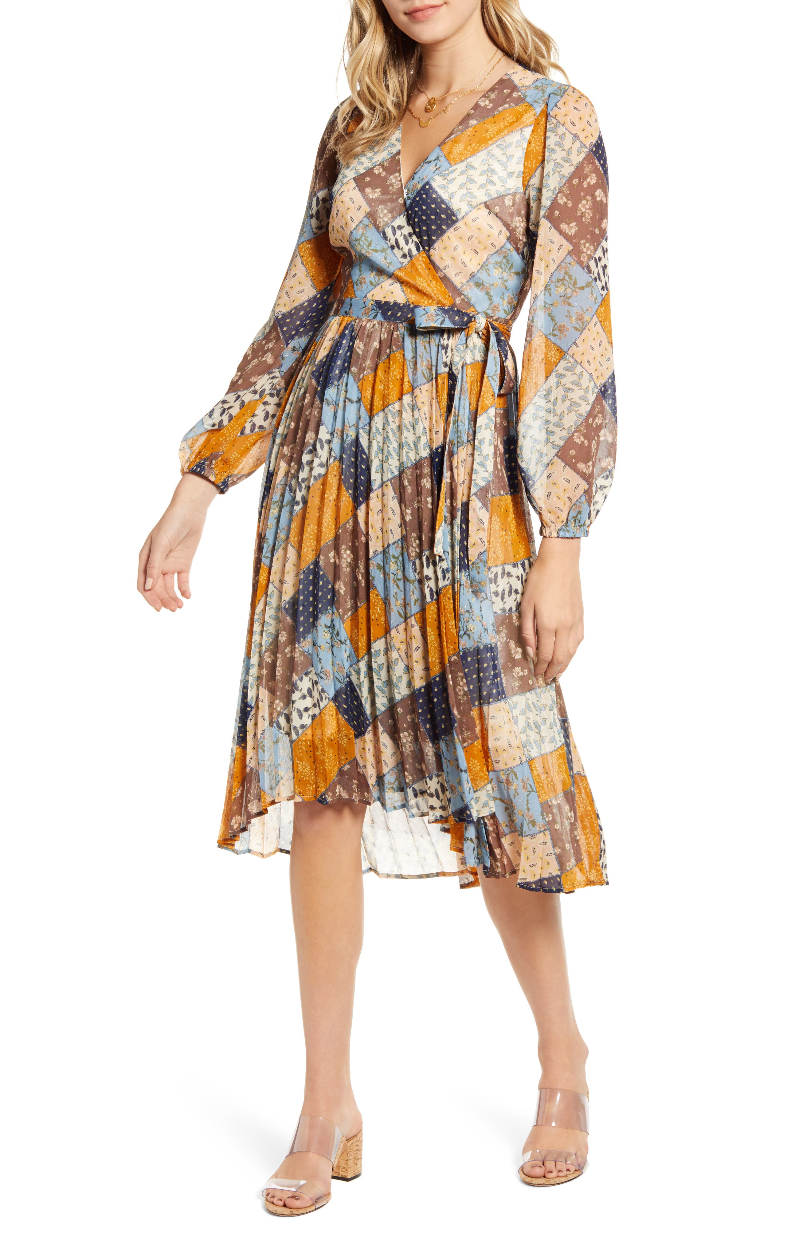 60s Dresses | 1960s Dresses Mod, Mini, Hippie Womens Moon River Patchwork Print Long Sleeve Wrap Dress $139.00 AT vintagedancer.com