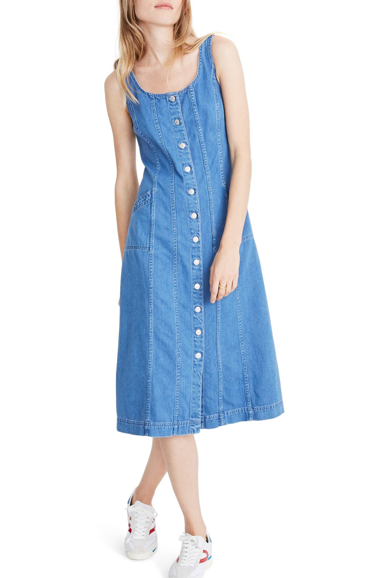 Just like the one your mom wore in the \'90s, but better because it\'s made of supersoft lightweight denim. This sleeveless button-front dress has flattering princess seams and a body-skimming shape, plus side pockets. Style Name: Madewell Button Front Denim Dress. Style Number: 6044856. Available in stores.