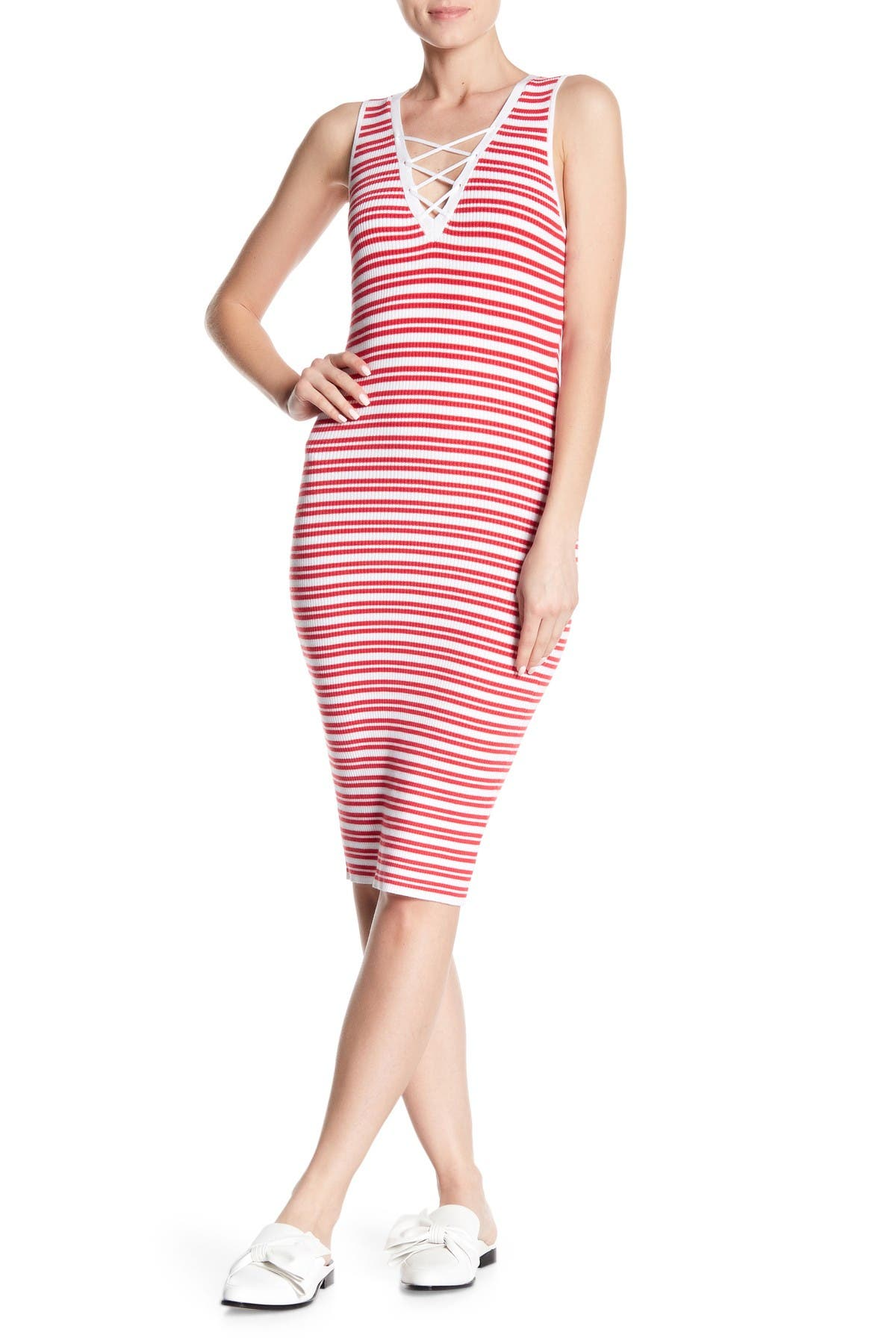 Image of Bishop + Young Lace-Up Stripe Sweater Dress