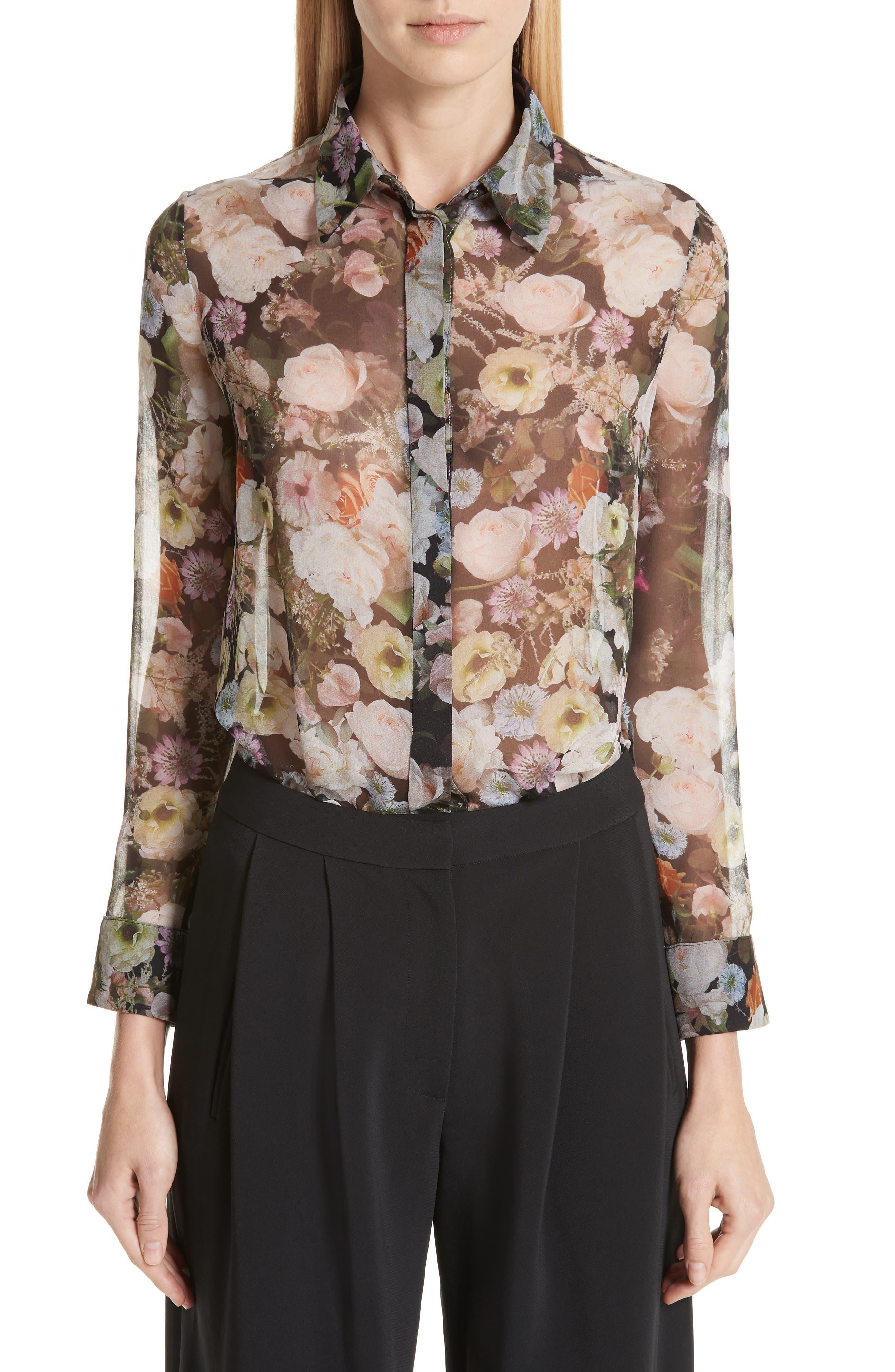 women's adam lippes floral silk blouse, size 2 - black