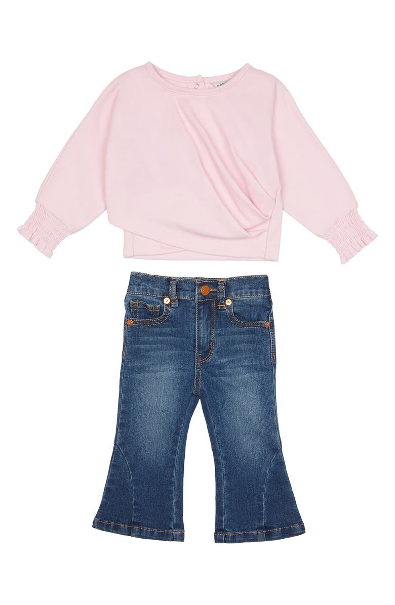 HABITUAL Kira Ruched Top & Flare Jeans, Main, color, DARK STONE
