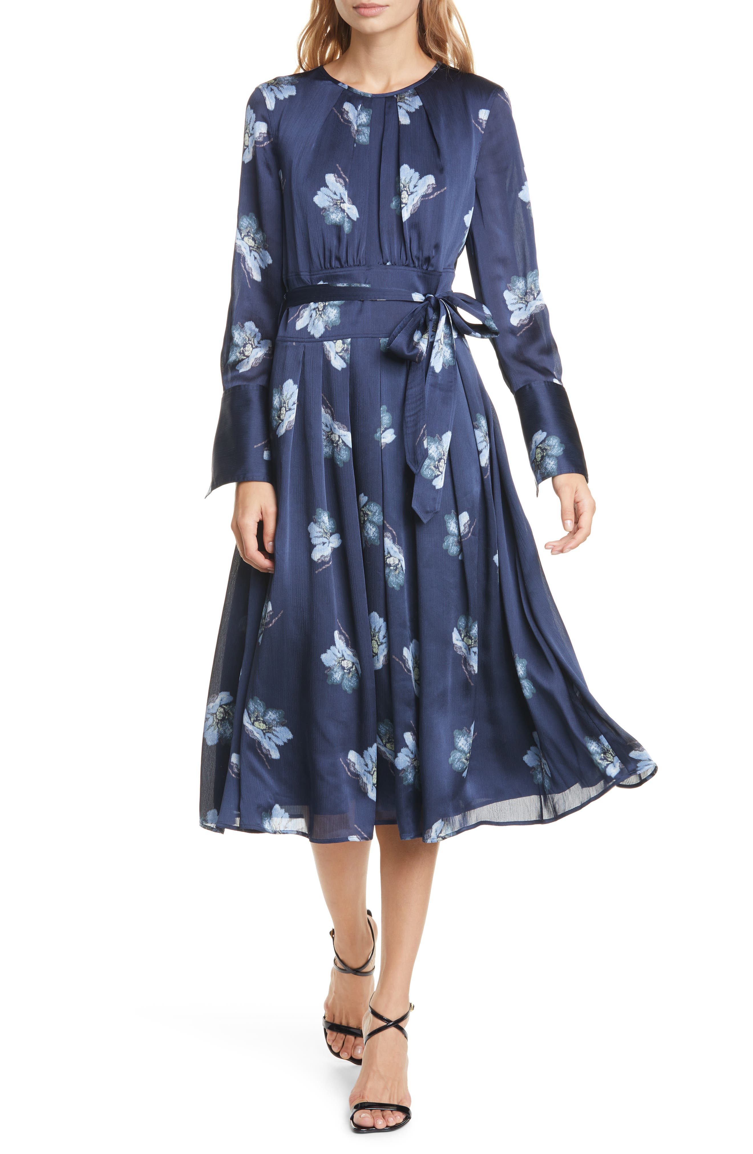 Club Monaco Dresses Floral Belted Long Sleeve Midi Dress