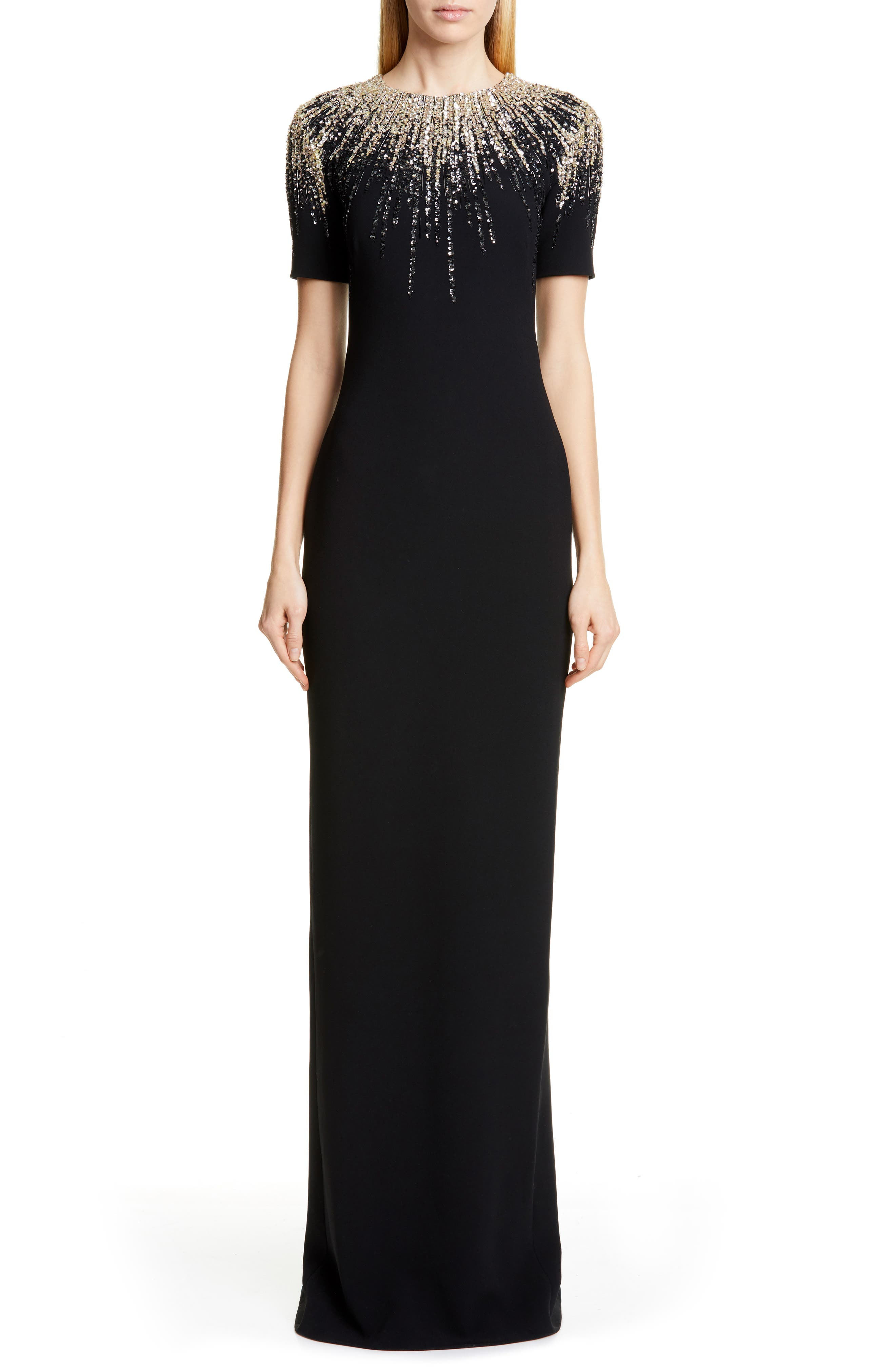 Pamella Roland Embroidered Neck Stretch Crepe Gown