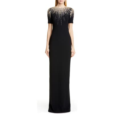 Pamella Roland Embroidered Neck Stretch Crepe Gown, Black