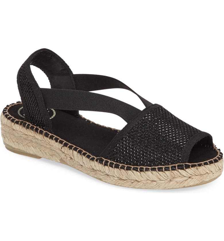 TONI PONS Estel Espadrille Sandal, Main, color, BLACK FABRIC