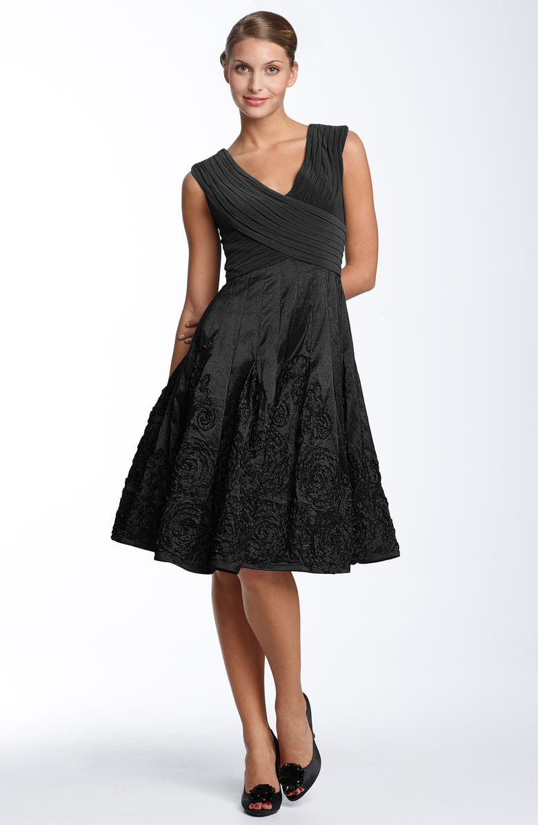 ADRIANNA PAPELL Matte Jersey & Taffeta Dress, Main, color, 001