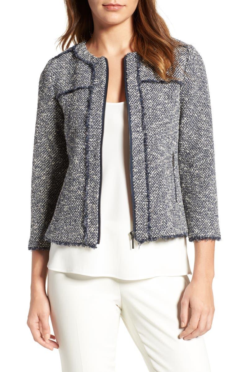 EMERSON ROSE Zip Front Tweed Jacket, Main, color, 411