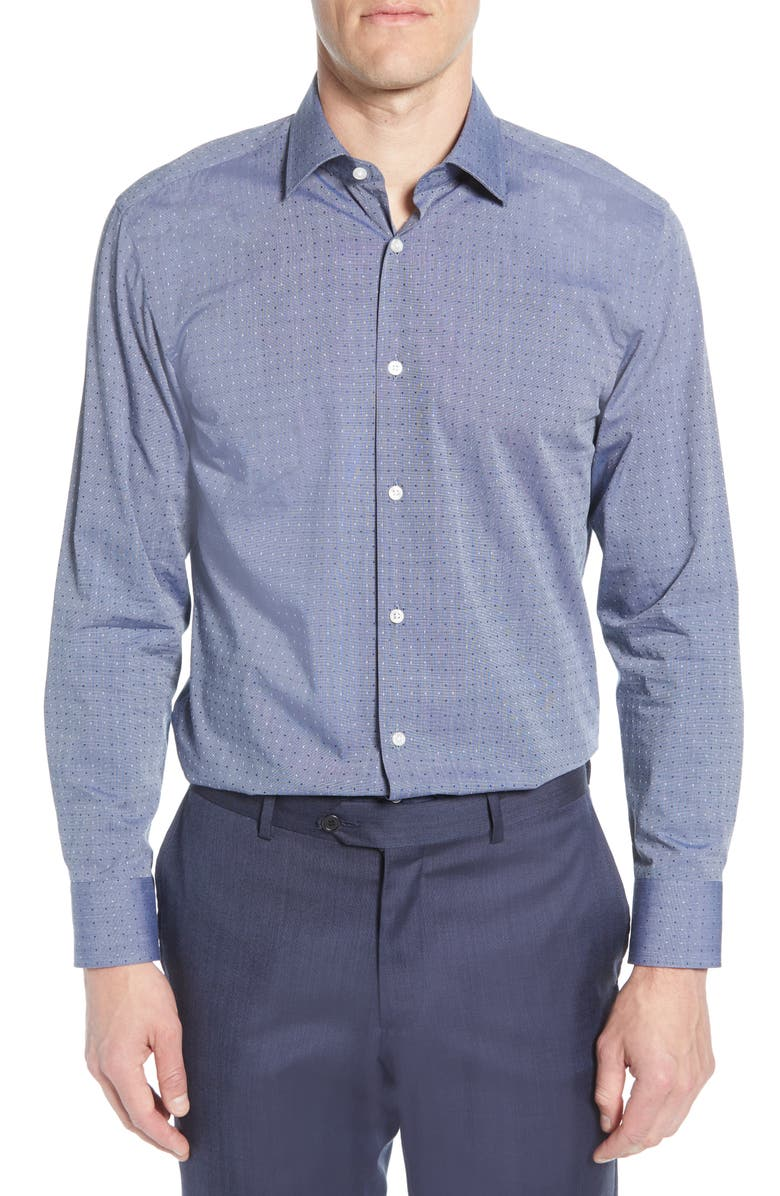 BOSS Sharp Fit Dot Dress Shirt, Main, color, NAVY