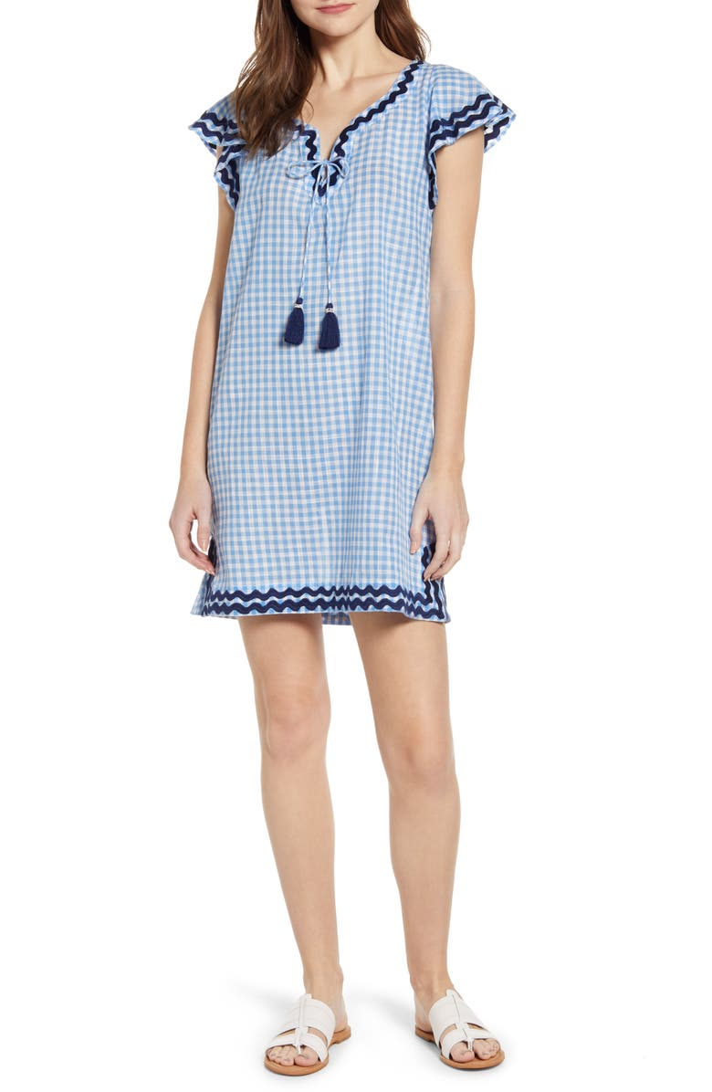VINEYARD VINES Gingham Ruffle Sleeve Embroidered Shift Dress, Main, color, 464