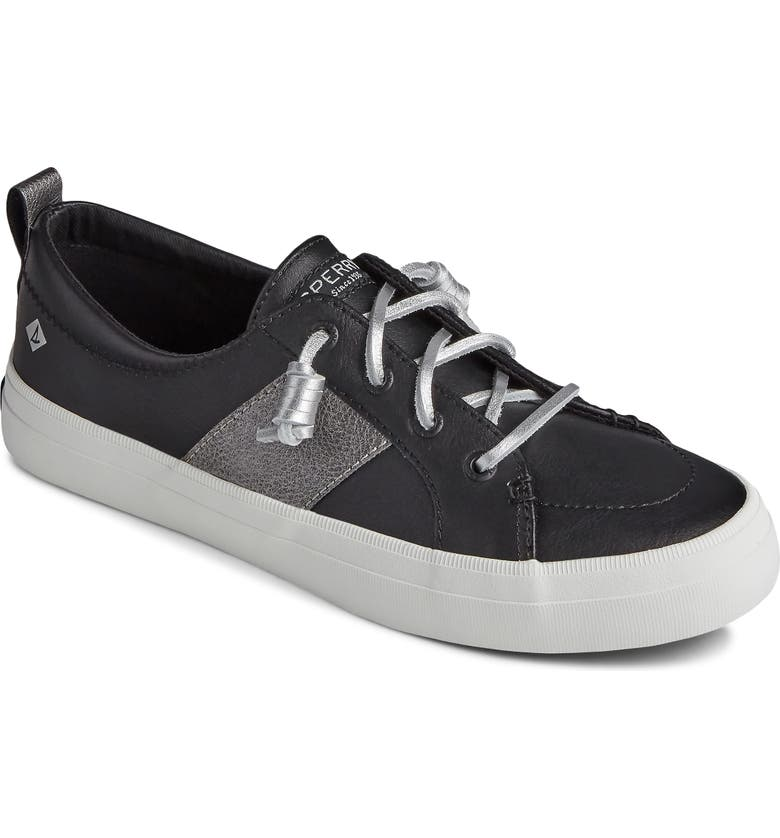 SPERRY Crest Vibe Slip-On Sneaker, Main, color, BLACK/ SILVER FAUX LEATHER